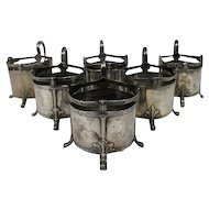Art Nouveau WMF 6 Silver Plated Pewter Glass Holders Germany Ca 1900.
