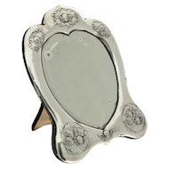 Victorian Sterling Silver Heart Shaped Dressing Table Mirror, William Comyns, London, England, 1896.