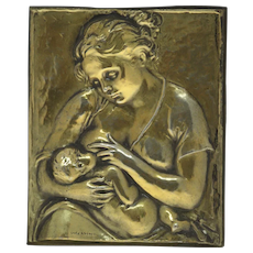 Unoaerre Gilt Silver Breastfeeding Relief Plaque Arezzo Italy 1944-1968