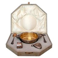 Art Nouveau WMF Silver Plated 5pcs Boxed Baby Set Germany Circa 1900
