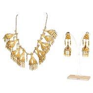 Unique Vintage Gilt Silver Necklace & Earrings Set Morocco 1950's.