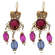 Vintage Gilt Silver And Beads Bokharan Earrings 1950s.