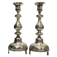 WMF Fraget Pair Of Silver Plated Candlesticks, Warsaw, Poland, Ca 1900.