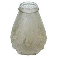 Art Nouveau Molded & Frosted Edmund Etling Glass Vase, M. Perron, France, Ca 1920.
