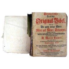 Martin Luther & Johann Wuthmanns Evangelist German - Hebrew Original Bible (1 vol.) 1741.