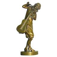 Art Deco Dorothea Charol Gilt Bronze Figure Sculpture- The Guitar Girl, France, Ca 1930.