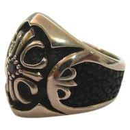 Sterling Silver Onyx & Garnet Tibetan Ring.