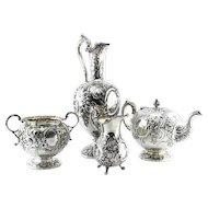 Victorian Sterling Silver 4pcs Tea Service, Marshall & Sons, Edinburgh, Scotland, 1849.