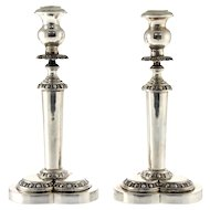 Pair Of Heavy Cast 900 Silver Candlesticks, Italy, 1950's.