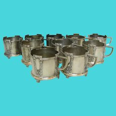 WMF Silver Plated 10 Glass Holders Set, Germany, Ca 1900.
