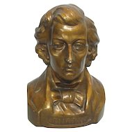 Composer Frederic Francois Chopin Painted Plaster Bust Sculpture
