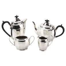 Art Deco Sterling Silver 4pcs Tea & Coffee Set, Birmingham, England, 1950.