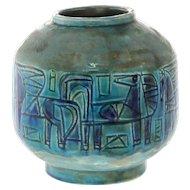 Vintage Gofer Glazed Ceramic Horse Flower Vase, Israel, 1950's.