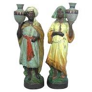 Pair Of Terracotta Oriental Figures Sculptures Austria Ca 1900.