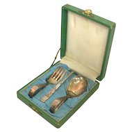 Japanese 950 Sterling Silver 3pcs Baby Flatware Cutlery Set Circa 1900