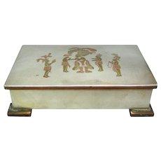 Silver Copper & Brass Handmade Cigar Cigarette Case Humidor Mexico 1950s.