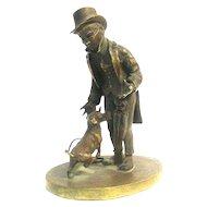 Biedermeier Style Bronze Figure Sculpture - Man And Dog Vienna Austria Ca 1850.