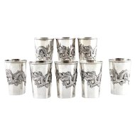 Set Of 8 Chinese Export Silver Cups Beakers, Tianjin, China, Circa 1870.