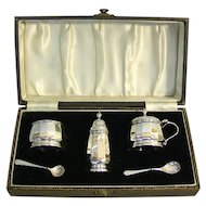 Art Deco Sterling Silver 3pcs Boxed Condiment Set Adie Bros England 1947
