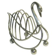 Novelty English Silver Plated Swan Form Five Bars Toast Rack.