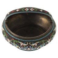 Silver and Enamel Cloisonne Sugar Bowl Nicholai Strulyev Moscow Russia Late 19th Century.
