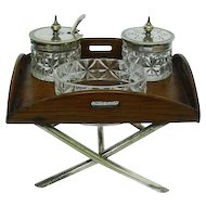 Novelty Oak & Silver Plated Condiment Set On Miniature Tray, Sheffield, Ca 1910.