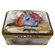 Continental Gilt Metal Mounted Porcelain Rectangular Snuff Box, Ca 1880
