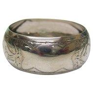 Sterling Silver Napkin Ring By William Devenport, Birmingham, England, 1913.