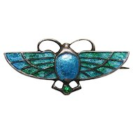 Art Nouveau Sterling Silver and Enamel Bug Brooch Pin by Charles Horner Chester England 1911.