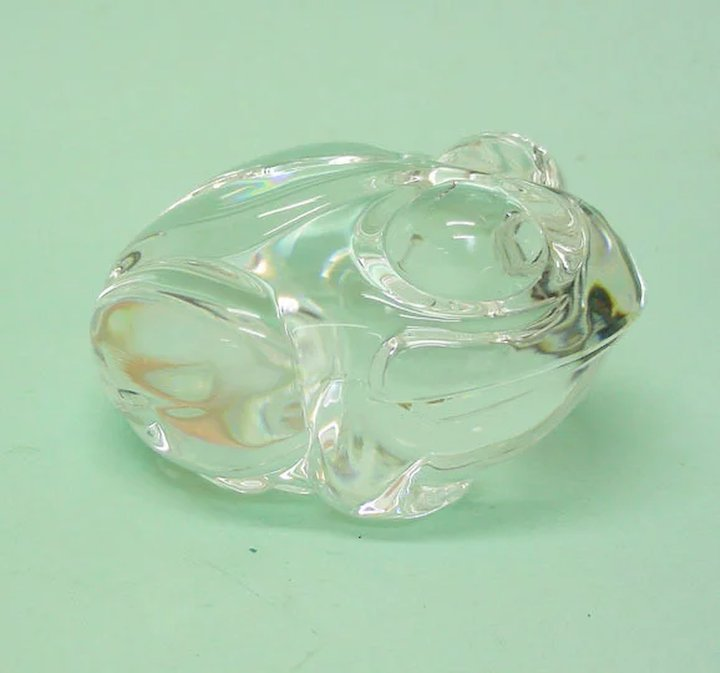 7eb244f7633 Novelty Steuben Glass Frog Figural Hand Cooler Paperweight With Original  Case.
