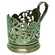 Silver & Niello Glass Holder, Moscow, Russia, 1950's.