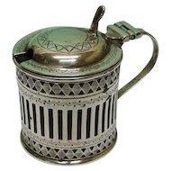 Sterling Silver Mustard Pot By Atkin Brothers, Sheffield, England, 1911.