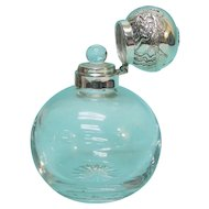 English Sterling Silver Mounted Cut Glass Perfume Scent Bottle