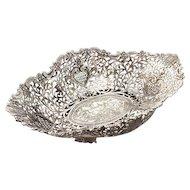 Bukharan Silver Large Pierced Oval Fruit Bowl Basket, Circa 1850.