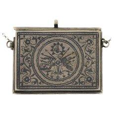 Islamic Silver and Niello Prayer Book Holder, Ottoman Empire, Circa 1890.
