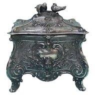 WMF Art Nouveau Silver Plated Jewelry Box Germany Ca 1900.