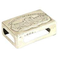 Edwardian Novelty Sterling Silver Matchbox Holder L. Bennet & Co, Birmingham, England, 1902.