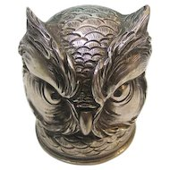 Novelty Continental Silver Owl's Head Stirrup Cup, Ca 1900