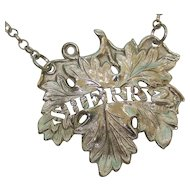 Victorian Sterling Silver Sherry Wine Label By George Unite, England, 1840.