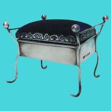 Sterling Silver Piano Stool Pin Cushion, Clark & Sewell, Birmingham, England, 1909.