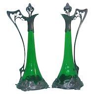 Art Nouveau WMF Ak & Cie Pair Of Pewter & Green Glass Decanters, Circa 1900.