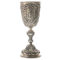 Austro-Hungarian Silver Large Goblet Chalice, Vienna, 1863.