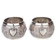 Pair Of Sterling Silver Napkin Rings, India, Circa 1920.