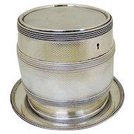 Silver Plated Barrel Biscuit Box On Tray George Richmond Collis, England, Ca 1880