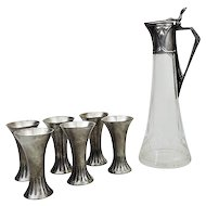 WMF Silver Plated Pewter Liqueur Set Germany Ca 1900.