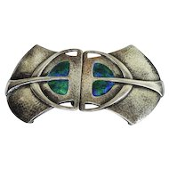 Arts & Crafts Sterling Silver & Enamel Belt Buckle By William Hair Haseler, Birmingham, England, 1907.