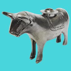 Novelty Bolivian Silver Plated Bull Form Vessel, Ca 1900