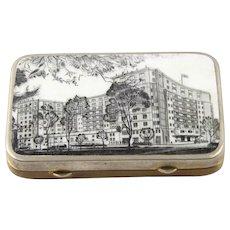 The Dorchester London English Gilt Metal And Enamel Snuff Box, 1940s
