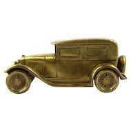 Art Deco Heavy Brass Car Form Cigarette Box, Germany, Ca 1930