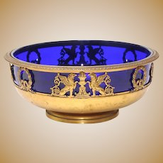 French Empire Gold Plated Metal and Glass Bowl Victor Saglier For Saglier Freres Paris, Ca 1900.